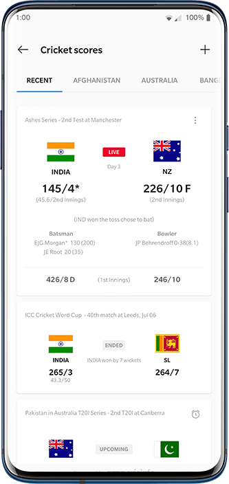 OnePlus 7T- OxygenOS-Cricket Card 2.0